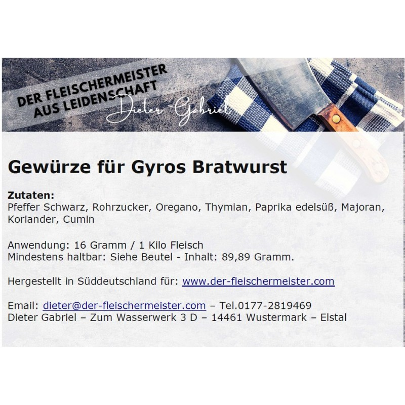 Gewürzmischung Gyros Bratwurst vom Fleischermeister aus Leidenschaft