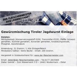 Gewürzmischung Tiroler Jagdwurst Einlage vom Fleischer aus Leidenschaft