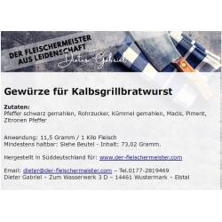 Gewürzmischung Kalbs Grillbratwurst vom Fleischermeister aus Leidenschaft