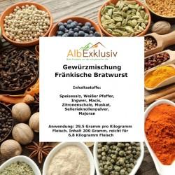 Gewürzmischung Fränkische Bratwurst, reicht für 6,8 Kilo Fleisch.