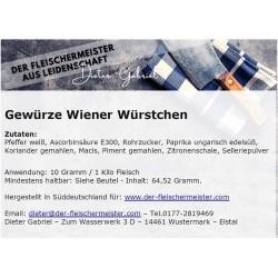 Gewürzmischung Wiener Würstchen, Sommerfrische mit Zitrone und Selleriepulver vom Fleischermeister aus Leidenschaft