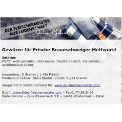 Gewürzmischung Frische Braunschweiger Mettwurst vom Fleischermeister aus Leidenschaft