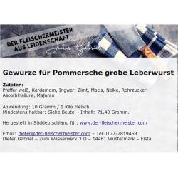 Gewürzmischung für grobe Pommersche Leberwurst vom Fleischermeister aus Leidenschaft