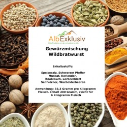 Gewürzmischung Wildbratwurst für 6 Kilo Fleisch Deutsche Handarbeit Blitzversand